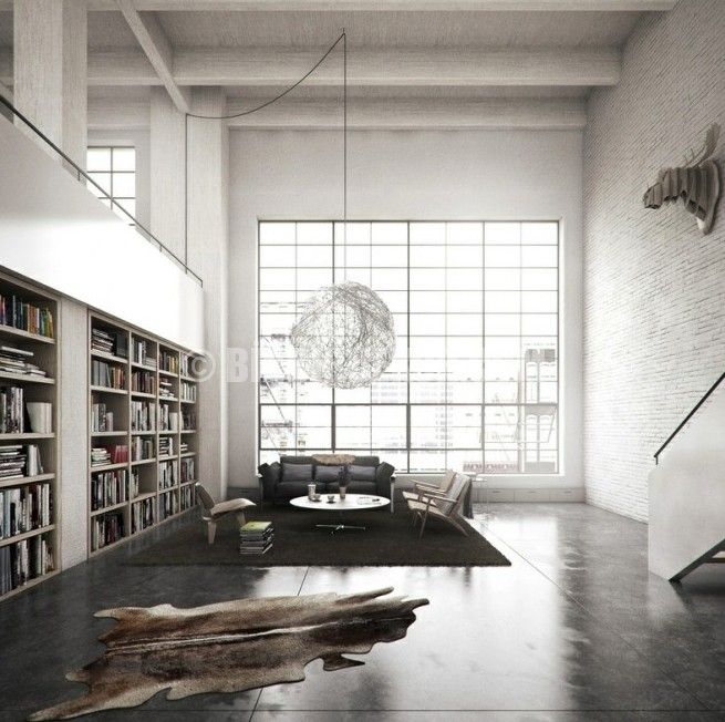 modern kitaplık dekorasyonu
