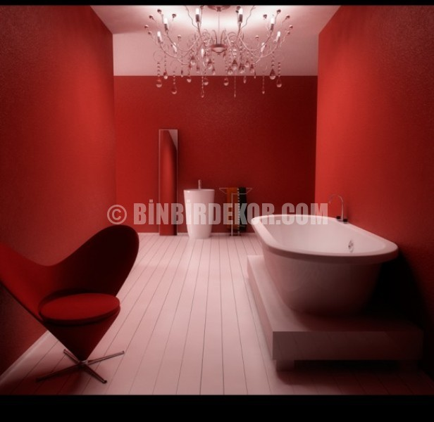 Kırmızı banyo dekorasyonu örnekleri