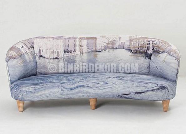 Manzara desenli çağdaş kanepe