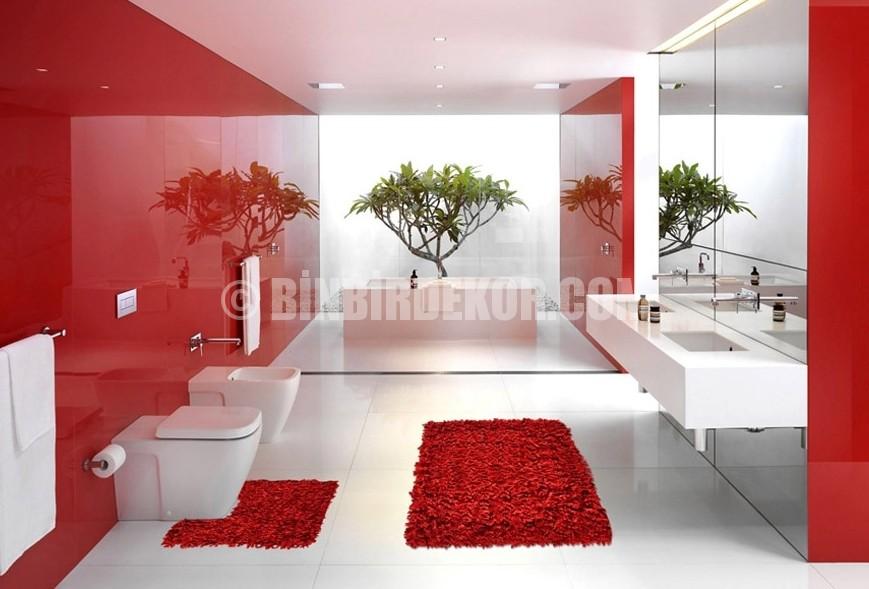 banyo shaggy halı modelleri