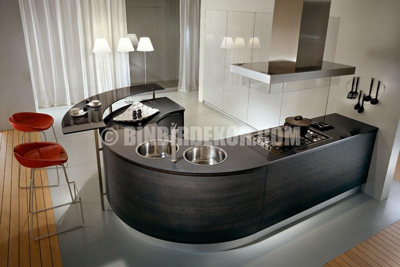 Çok farklı oval mutfak tezgahları