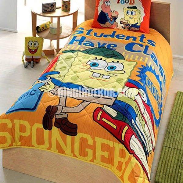 genç odası yatak örtüsü sünger bob