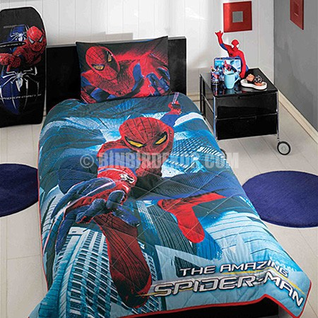 genç odası yatak örtüsü spiderman
