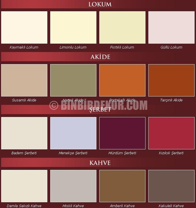 marshall osmanlı renk kartelası