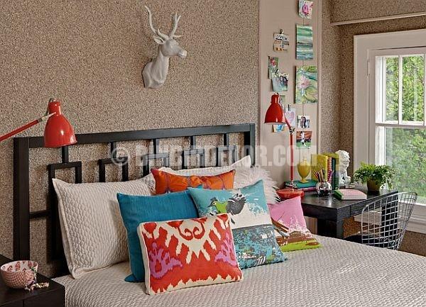 yatak odası dekorasyonu yastık