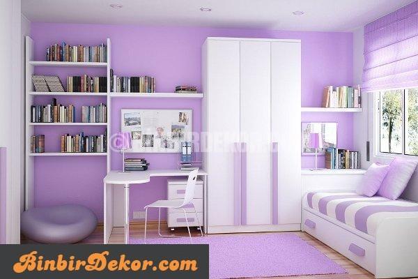 genç odası duvar renkleri mor