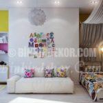 Çocuk odası duvarları için renkli çözümler