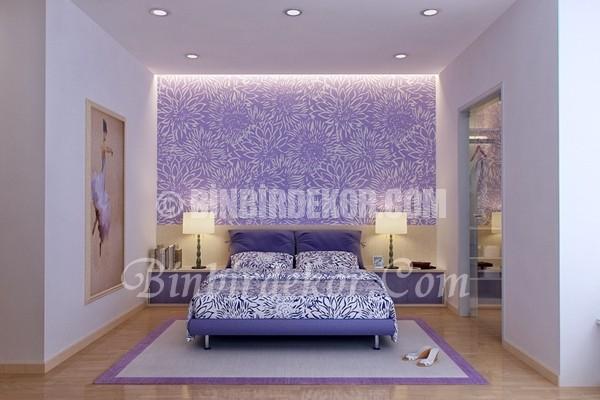 Yatak odanızda lila tonlarını deneyin