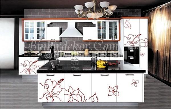 çiçek desenli mutfak dolapları