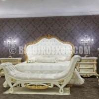 Kapitone yatak başlıklı oymalı beyaz altın sarısı renkli klasik ...
