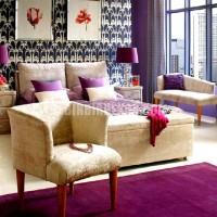 mor ve lila renkli oda renk dekorasyonları pempe pempe lila