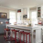 Mutfaklarda Kırmızı Beyaz Renk Kombinasyonu