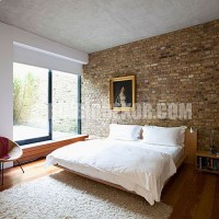 Interior, Interesting Bedroom Decorating With Stone Interior Wall And ...