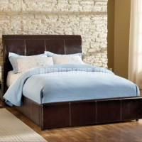 ... Brown Leather Contemporary Bed Frames Wooden Floor Stone Wall Decor