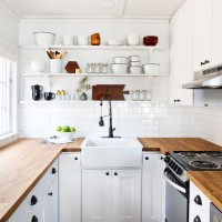 small white kitchen remodel butcher block countertops