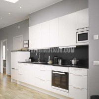 modern white kitchen with black wall