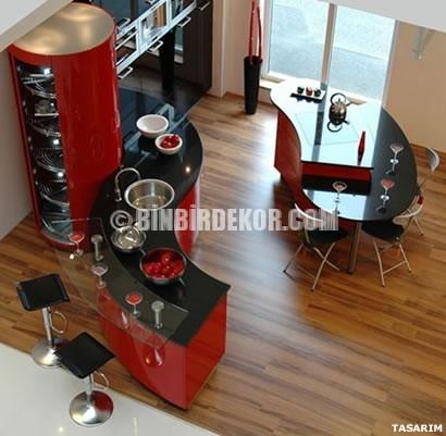 Mutfaklarda Kırmızı Siyah Kombinleri Örnekleri