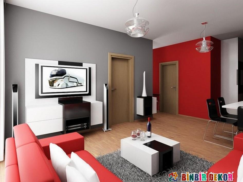 farbe wohnzimmer 2016:wohnzimmer rot dekorieren : wohnzimmer mit schwarzem holzboden und