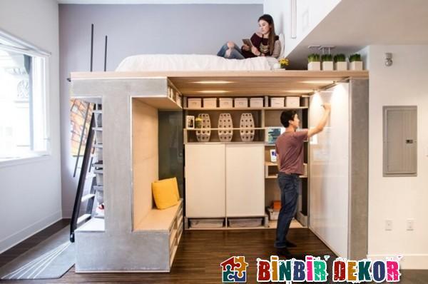 Dar Evler İçin Fonksiyonel Mobilya Tasarımları Stüdyo Daire Mobilya Modelleri 2016