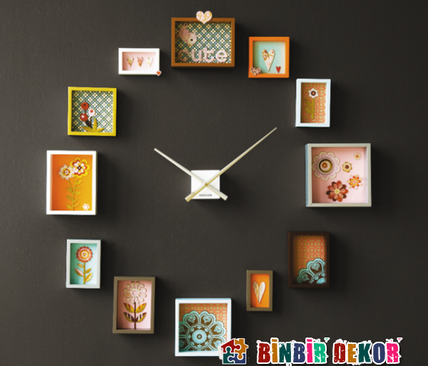 Fotoğraf Çerçeveli El  Yapımı Saat Tasarımları Kendin Yap Dekorasyon