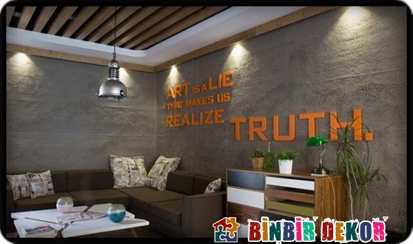 Beton gürünümlü duvar dekorasyonu brüt beton duvar paneli uygulamaları