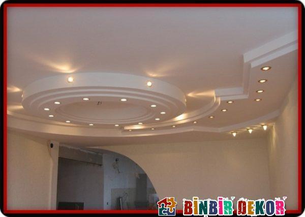 Salon Asma Tavan Dekorasyon Fikirleri ile Asma Tavan Spot Aydınlatma Örnekleri