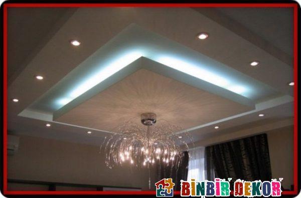 Salon Dekorasyon Fikirleri ve Gizli Işıklı Alçıpan Asma Tavan Tasarımları