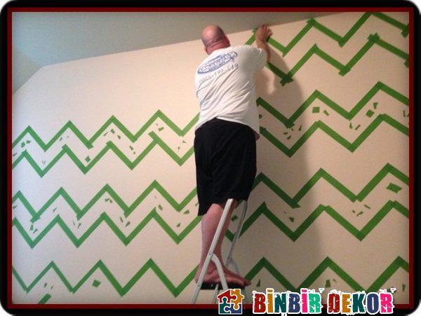 Duvar Dekorasyon Fikirleri ile Çizgili Duvar Boyama Teknikleri