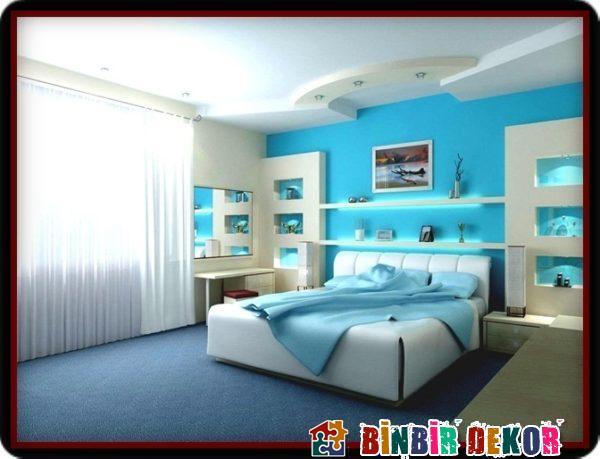 Mavi Beyaz Duvar Renkleri ile Binbirdekor.com Duvar Boya Rengi Kombinasyonları