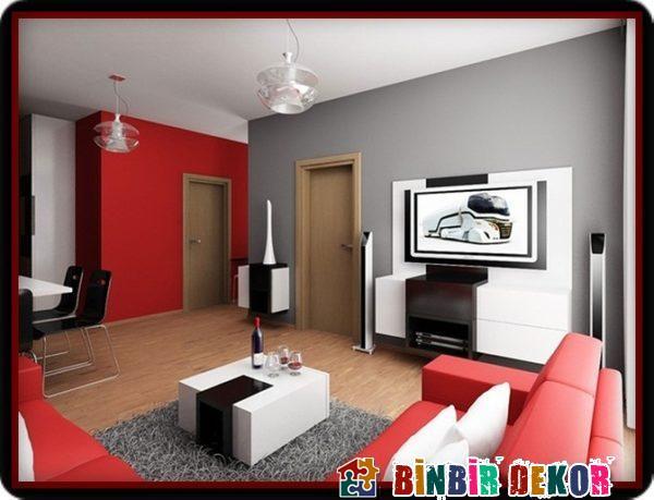 Modern Oturma Odası Duvar Renkleri ile Duvar Boyası Renk Kombinasyonları
