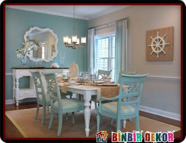 Turkuaz Duvar Renkleri ile Yemek Odası Duvar Rengi Kombinasyonları