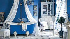 Mavi renkli banyo dekorasyonları