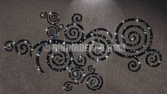 Kristal taşlı kadife duvar stickerları