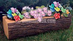 Kütük görünümlü dekoratif bahçe süsleri
