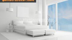 Bembeyaz yatak odası dekorasyonları