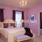 Lila tonlarında çok şık yatak odaları