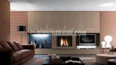 Çok dekoratif şömineli TV üniteleri
