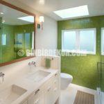 Yeşil Tonlarında Banyo Dekorasyonları Görselleri