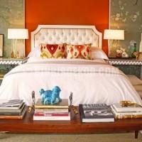 deri kapitone başlıklı yatak odası modeli