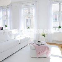 beyaz oturma odası dekorasyonu