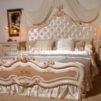 ... kapitone yatak başlıklı cibinlik tasarımlı krem yatak odası
