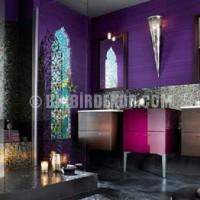 ... Banyo Tasarımları /mor renklerle modern ve lüks banyo dekorasyonu