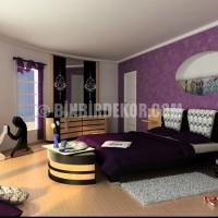 Mor ve lila renginin hakim olduğu yatak odaları