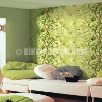 Oturma Odası Duvar Renkleri /yeşil ve tonlarında desenli oturma ...