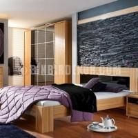 Bedrooms With Stone Wall Decoration