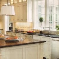 white kitchen + wood countertops