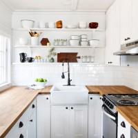 small white kitchen remodel butcher block countertops