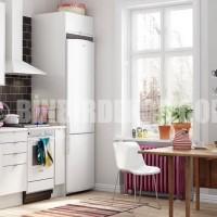 white kitchen black brick backsplash