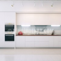 Contemporary Open White Kitchen Design with Wooden Worktop and Double ...