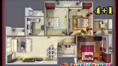 3 Yatak Odalı Muhteşem 4+1 Daire Planları ve Projeleri